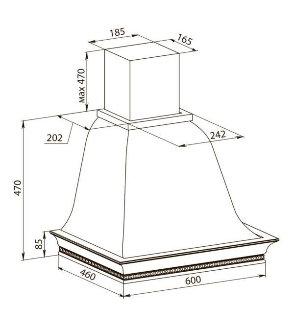 Кухонная вытяжка Беатриче 60 I/P/S/U КР схема
