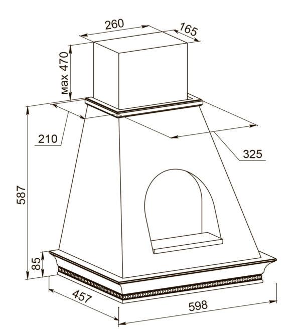 Кухонная вытяжка Беатриче 60 I/P/S/U с окном-схема