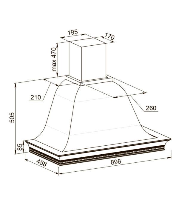 Кухонная вытяжка Беатриче 90 I/P/S/U КР схема
