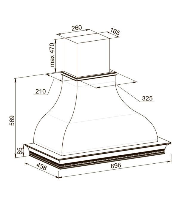 Кухонная вытяжка Беатриче 90 I/P/S/U ППУ схема