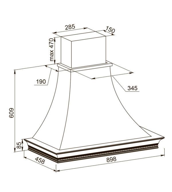 Кухонная вытяжка Беатриче 90 I/P/S/U ПСВ схема