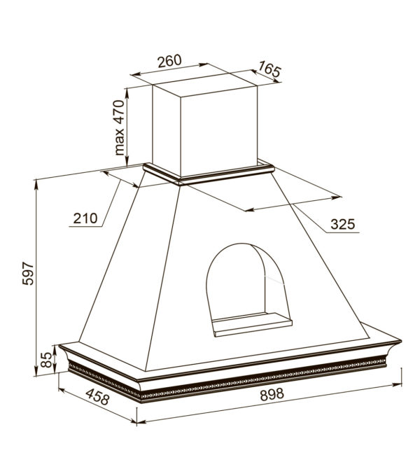 Кухонная вытяжка Беатриче 90 I/P/S/U с окном-схема