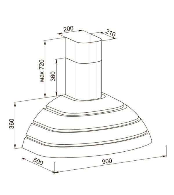 Кухонная вытяжка Брио 90 схема